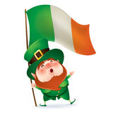 Leprechaun holding flag of Ireland Stock Photos