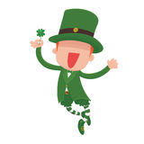 Leprechaun Holding a Four-Leaf Clover for St. Patrick's Day. Royalty Free Stock Image