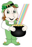 Leprechaun Holding Gold Stock Photography