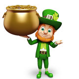Leprechaun holding gold coins pot for st. patricks Royalty Free Stock Photography