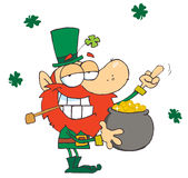 Leprechaun holding  pot of gold Stock Photography