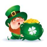 Leprechaun holding a pot of gold Royalty Free Stock Image