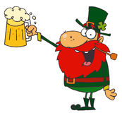 Leprechaun holding up beer Stock Photography