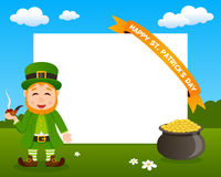 Leprechaun Horizontal Frame with Ribbon Royalty Free Stock Image