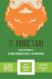 Leprechaun or Irish man with mustache and beard for St. Patricks Day pub or party invitation Royalty Free Stock Images