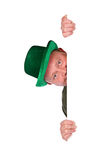 Leprechaun: Irish Man Peeking Around White Card. Short series of an Irish man in green for St. Patrick's Day Stock Images