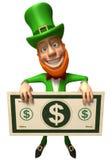 Leprechaun irlandés con el dinero Foto de archivo libre de regalías