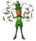 Leprechaun irlandés con el dinero Imagen de archivo libre de regalías