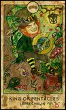 Leprechaun. King of pentacles. Fantasy Creatures Tarot full deck. Minor arcana. Hand drawn graphic illustration, engraved colorful painting with occult symbols Royalty Free Illustration
