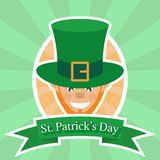Leprechaun, logo for greeting card template of St. Patrick`s day Royalty Free Stock Image