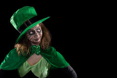 Leprechaun looking to copyspace, concept ireland and st. patrick Royalty Free Stock Photos