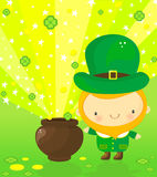 Leprechaun and magic pot Stock Photography