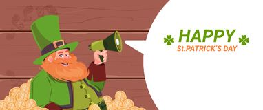 Leprechaun Man Holding Megaphone, Happy St. Patricks Day Holiday Template Background. Flat Vector Illustration Royalty Free Stock Image