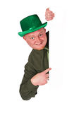 Leprechaun: Man Pointing to White Card Copyspace Royalty Free Stock Photos