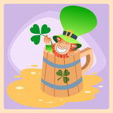 Leprechaun in a mug of beer St. Patrick day. Leprechaun in a mug of beer St. Patricks day festive picture of the character stock illustration