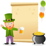 Leprechaun and Old Parchment Stock Images