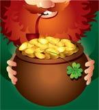 Leprechaun on Patrick's Day. Vector illustration of leprechaun holding pot of gold Stock Photo