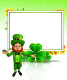 Leprechaun for patrick's day with sign and smoking pipe Royalty Free Stock Photo