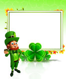 Leprechaun for patrick's day with sign and smoking pipe Stock Image