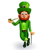 Leprechaun for patrick's day with smoking pipe Stock Image