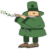 Leprechaun Playing A Flute. This illustration depicts an Irish leprechaun playing a flute with four leaf clovers coming out of the end Royalty Free Stock Photo