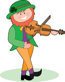 Leprechaun Playing a Violin. An Irish Leprechaun playing a violin and dancing Stock Photography