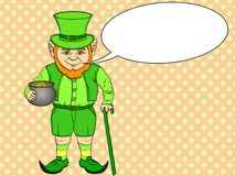 Leprechaun pop art. happy St. Patrick holds a cauldron full of gold coins in his hands. Imitation comic style vector. Illustration. Text bubble Stock Photos