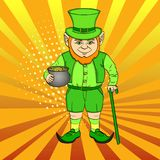 Leprechaun pop art. happy St. Patrick holds a cauldron full of gold coins in his hands. Imitation comic style vector. Illustration Stock Image