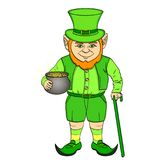 Leprechaun pop art. happy St. Patrick holds a cauldron full of gold coins in his hands. Object on a white background. Leprechaun pop art. happy St. Patrick holds Royalty Free Stock Image