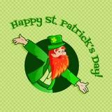 Leprechaun. Postcard template of a funny leprechaun on green background Stock Photography