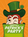 Leprechaun Poster Winking behind a Scroll Inviting you to Patrick's Day Party, Vector Illustration Royalty Free Stock Images