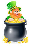 Leprechaun and pot of gold Stock Images