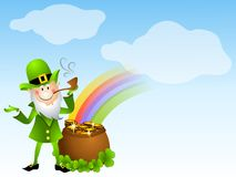 Leprechaun And Pot of Gold. A clip art illustration featuring a St. Patrick's Day leprechaun dressed in green with a pipe standing beside a pot of gold, complete Royalty Free Stock Photos