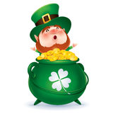 Leprechaun and a pot of gold Royalty Free Stock Images