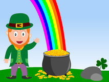 Leprechaun and Pot of Gold. A happy and smiling leprechaun with the legendary pot of gold at the end of the rainbow. Empty space for a message. Useful also for Royalty Free Stock Photo