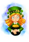 Leprechaun with a pot of gold and clover Stock Photo
