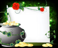 Leprechaun pot with gold coins Royalty Free Stock Photo
