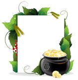 Leprechaun pot and gold coins with  leaves and pap Stock Photography