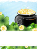 Leprechaun pot with gold coins and shamrock clover Royalty Free Stock Images
