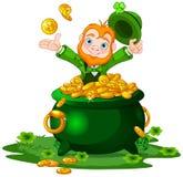 Leprechaun and Pot of Gold. Cute cartoon Leprechaun sitting on pot of gold Royalty Free Stock Photo