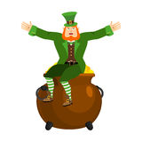 Leprechaun and pot of gold. Dwarf with red beard and boiler of g Royalty Free Stock Images