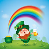 Leprechaun with pot of gold at the end of rainbow Stock Photo