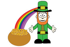 Leprechaun with pot of gold at end of rainbow Stock Photos