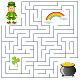 Leprechaun & Pot of Gold Maze for Kids vector illustration