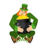 Leprechaun and pot of gold. My precious. St.Patrick `s Day. Stock Photos