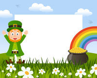 Leprechaun and Pot of Gold Photo Frame Royalty Free Stock Image