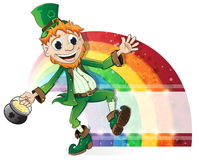Leprechaun with a pot of gold and rainbow Royalty Free Stock Photo
