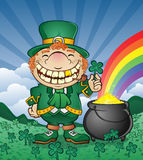 Leprechaun with Pot of Gold in Shamrock Patch stock illustration
