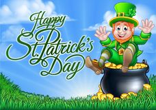 Leprechaun and Pot of Gold St Patricks Day Sign. Happy St Patricks Day background sign with a cute Leprechaun cartoon character sitting in his pot of gold stock illustration