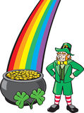 Leprechaun, Pot o' Gold, Shamrocks and Rainbow Stock Photography